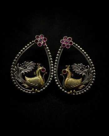 Beautiful Peacock Shape Dual Tone Dangle Earring-Pink Stone