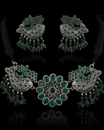 Oxidized Fish Shape Choker Necklace Set - Green