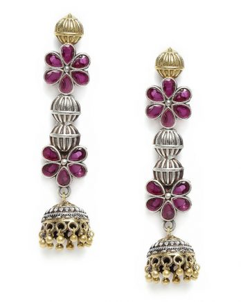 Floral Shape Dangle and Drop Earring - Pink Stone