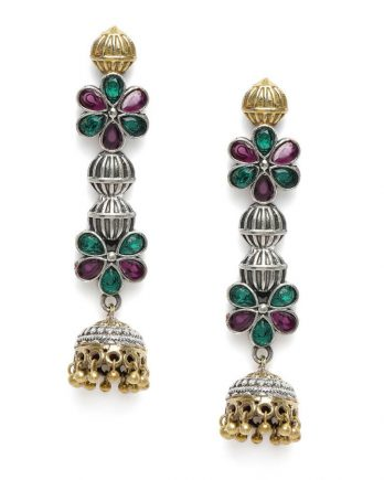 Floral Shape Dangle and Drop Earring - MultiColor