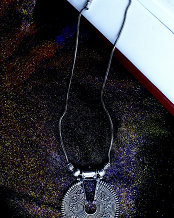 Oxidized Silver Round Pendant and Chain