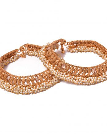 Matte Gold Plated Anklet with White Pearls