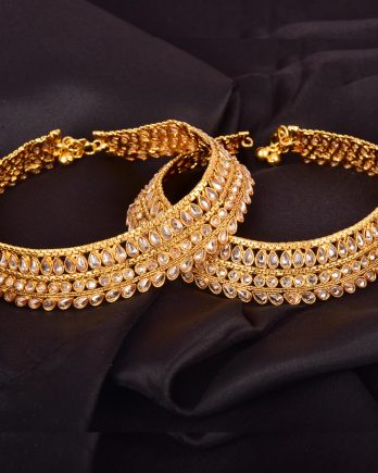 Gold Plated Handmade Anklet with White Stone
