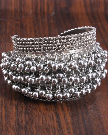 Oxidised German Silver Grey Ghungroo Cuff Bracelet