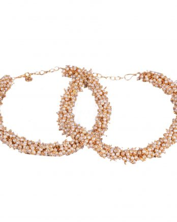 Gold Plated Traditional Anklet with Pearls