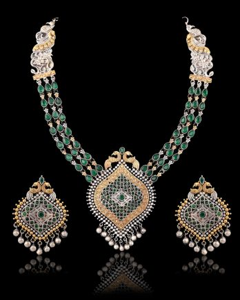 Green Stone Traditional Long Necklace Set