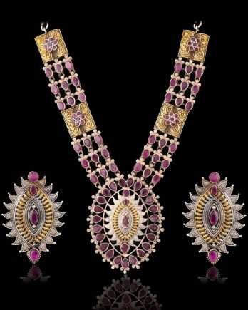 Pink Color Dual Tone Long Necklace Set