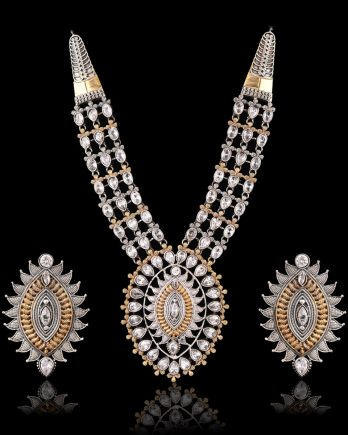 White Color Dual Tone Long Necklace Set