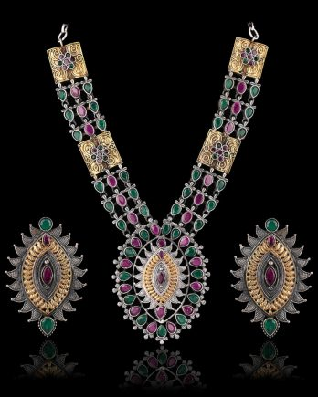 Multi Color Dual Tone Long Necklace Set