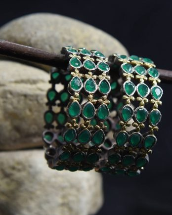 Dual Tone Beautiful Bangle Pair with Green Stone