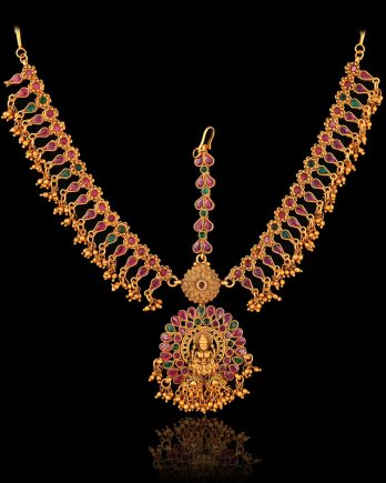 Gold Plated Pink Stone Temple Matha Patti