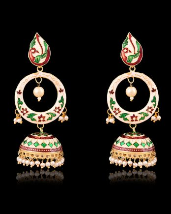 Beautiful Peacock Shape Meenakari Earrings