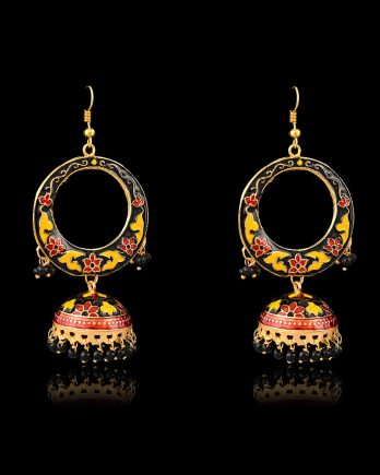 Black Color Contemporary Meenakari Earrings