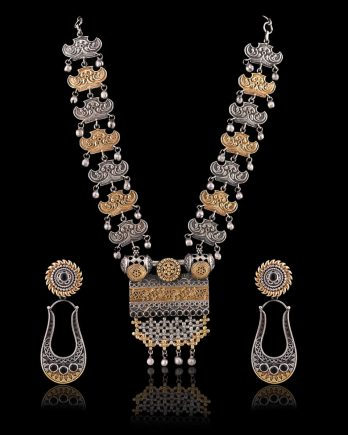 Long Dual Tone Handmade Necklace with Earrings