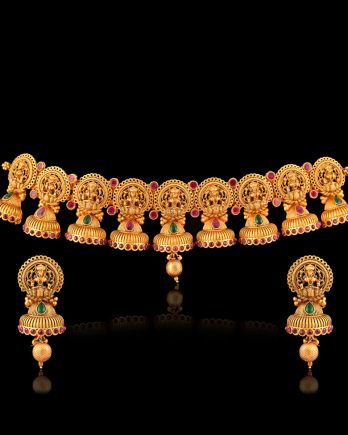 Gold Plated Choker Temple Necklace Set
