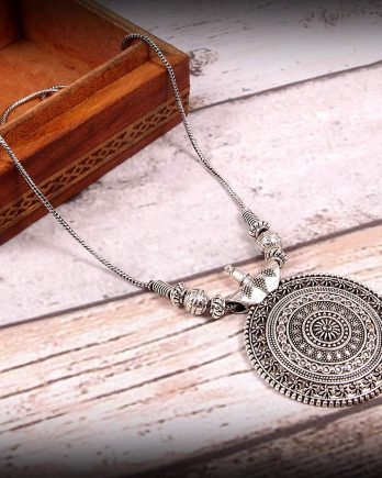 Oxidized Silver Round Pendant and Chain Set