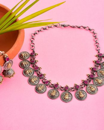 Dual Tone Coin Temple Necklace Set-Pink