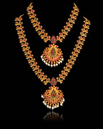 Traditional Long and Short Temple Necklace Set