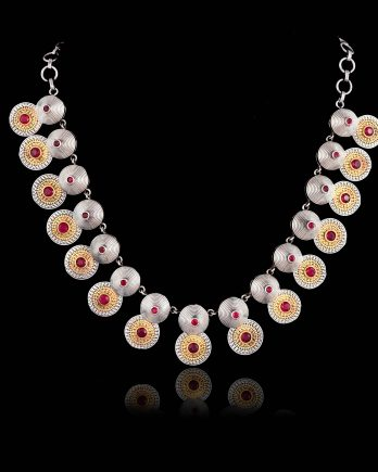 Dual Tone Coin Necklace with Pink Stone