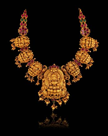 Goddess Laxmi Gold Plated Temple Necklace Set