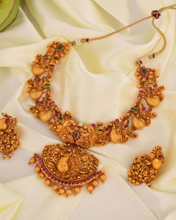 Traditional Gold Plated Peacock Shape Necklace Set