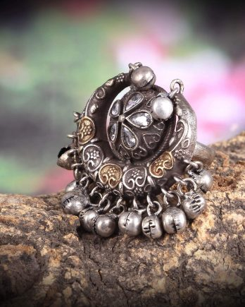 Moon Shape Dual Tone Ring with Ghungroo