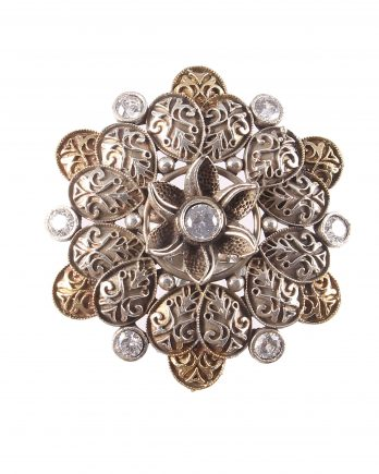Dual Tone Floral Shape Adjustable Rings