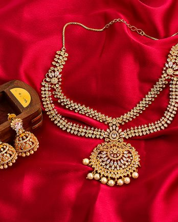 Gold Plated CZ-Stone and Pearl Jewelry Necklace Set