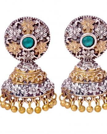 Gold and Silver Plated Small Jhumki Earrings