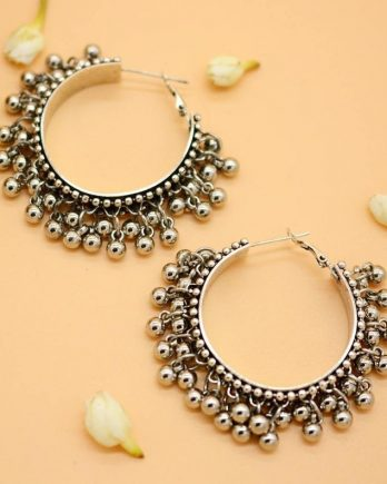 Oxidized Silver Ghungroo Hoop Earring For Girls and Women