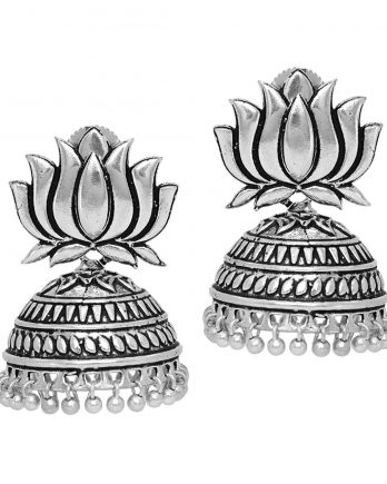 Oxidized Lotus Jhumka Earring For Girls and Women