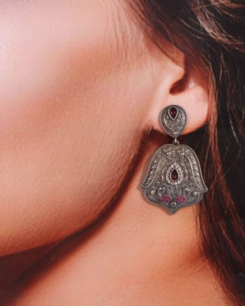 Oxidized Black Metal Dangle Earrings with Pink Stone