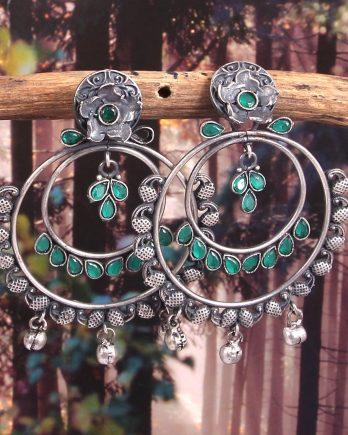 Oxidized Black Floral Shape Dangle Earrings