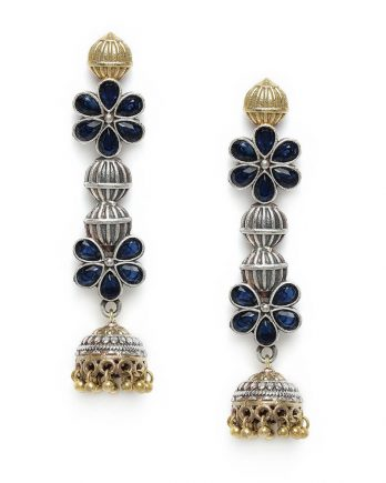 Floral Shape Dangle and Drop Earring - Blue Stone