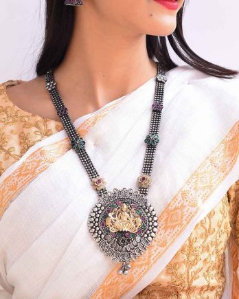 Dual Tone Traditional Temple Long Necklace for Girls and Women