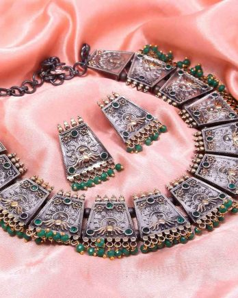 Dual Tone Traditional Choker Necklace Set for Girls and Women - Green Stone