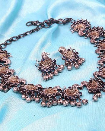 Dual Tone Peacock Design Choker Necklace Set for Girls and Women