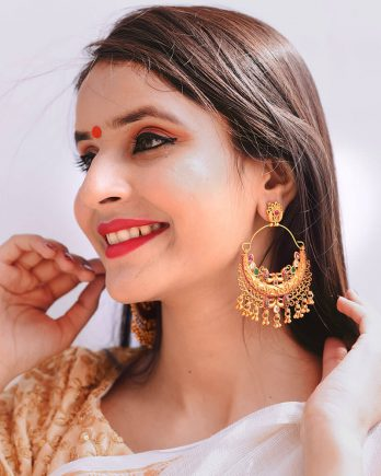 Gold Plated Traditional Chandbali Earrings for Girls and Women