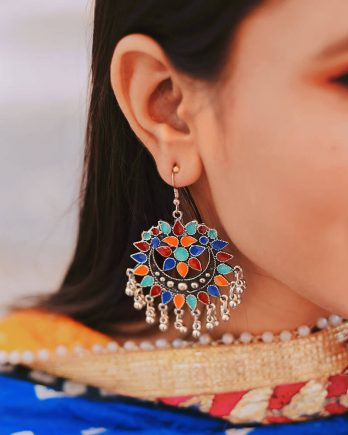 Beautiful Colorful Oxidized Afghani Earring For Girls