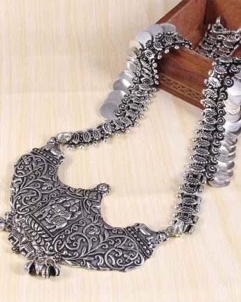 Oxidized Silver Traditional Wear Handcrafted Long Necklace
