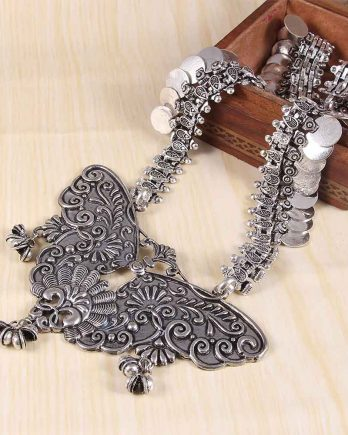 Oxidized Silver Traditional Handcrafted Long Necklace
