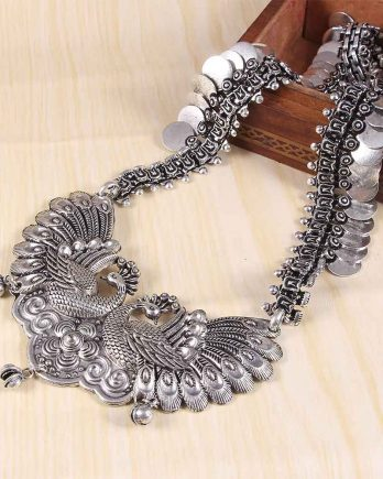 Oxidized Peacock Design Traditional Handcrafted Long Necklace