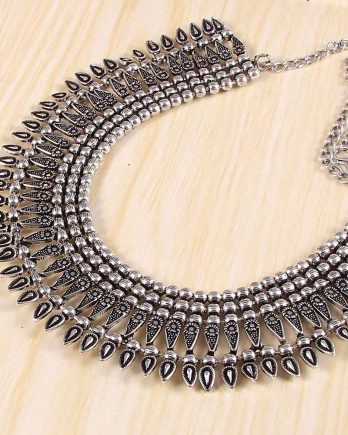 Oxidized Afghani Choker Necklace for Girls and Women