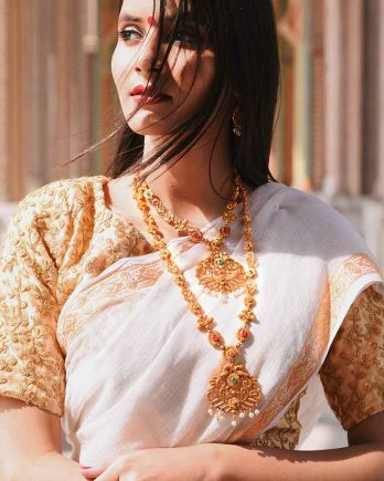 Gold Plated Long Short Necklace Set with Earring and Maangtikka