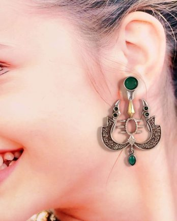 Trishul Shape Dual Tone Green Stone Earrings