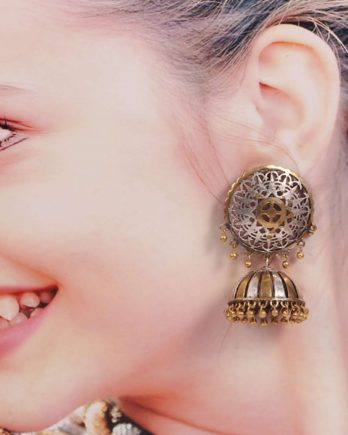Dual Tone Round Shape Dangle Jhumki Earring