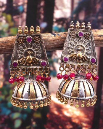 Dual Tone Pink Stone Jhumka Earring for Girls and Women