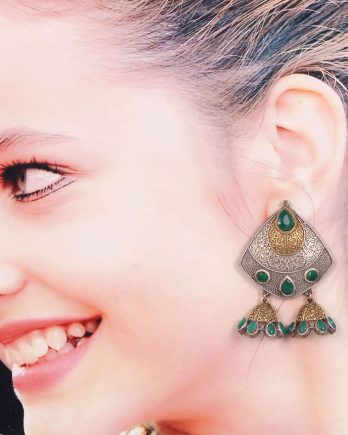Dual Tone Dangle Earrings with Two Jhumki
