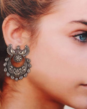 Oxidized Black Peacock Shape Earrings