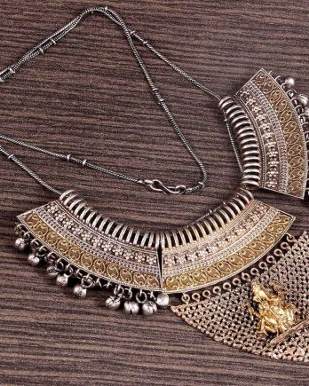 Dual Tone Traditional Temple Necklace for Girls and Women